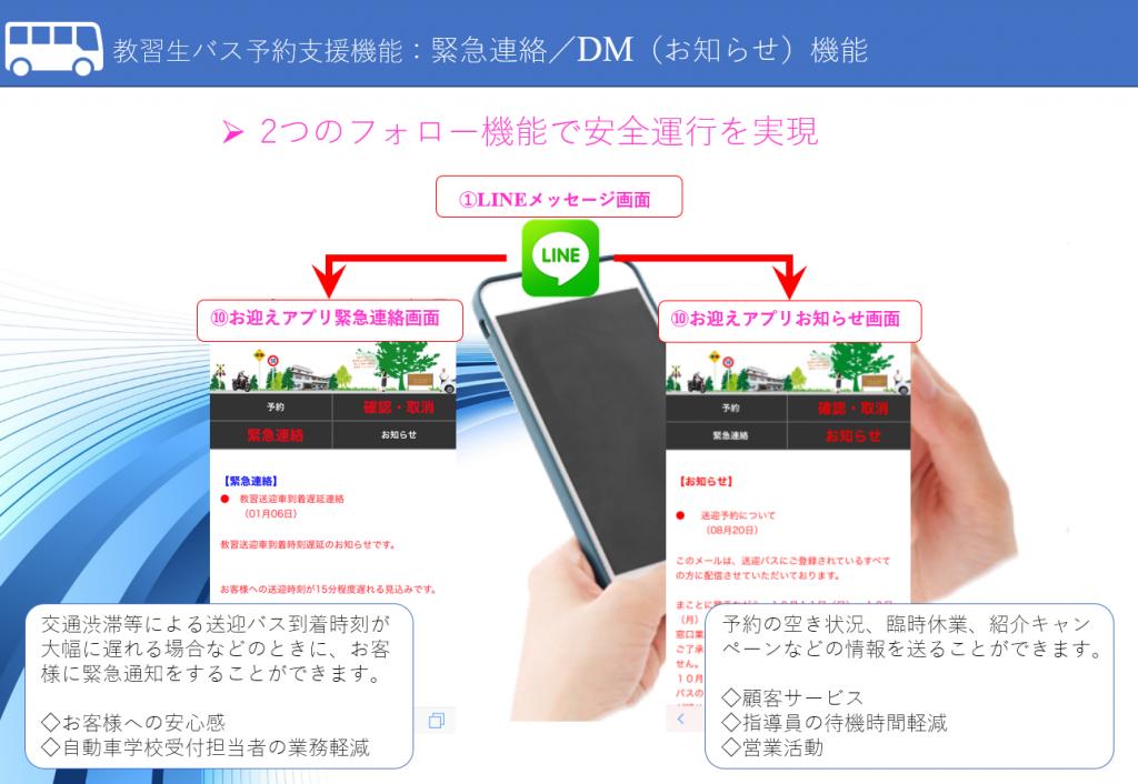教習生バス予約支援機能:緊急連絡/DM(お知らせ)機能